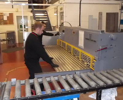 Cutting large metal sheet